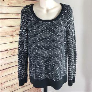 Ann Taylor LOFT black and white knit sweater